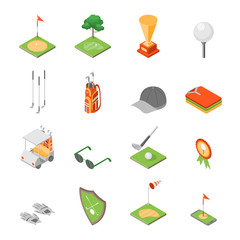 Golf Game Equipment and Signs Icons Set Isometric View. Vector