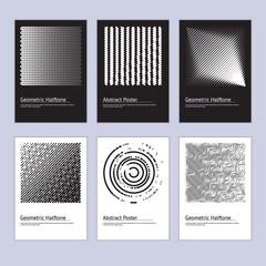 Modern Abstract Halftone Poster Design Set. Vector