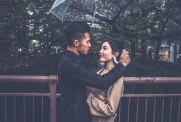 Young japanese couple spending time together in Tokyo