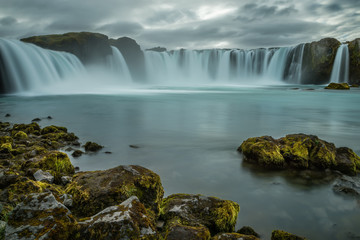 Printed bathroom splashbacks A beautiful waterfall, frozen motion of water streams on a long exposure. The most visited waterfall in Iceland. Waterfall Godafoss