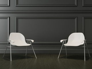 modern chair in the room, 3d