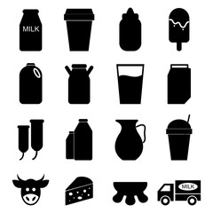 vector of Milk icons set