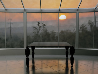 a table near the window, 3d rendering,