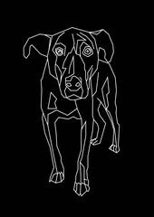 white contour cartoon dog on a black background. Sketched art