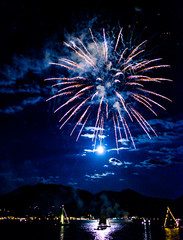 fireworks at the tegernsee lake