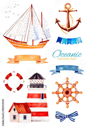 Nautical watercolor set. Ocean creature with anchor,lighthouse ...