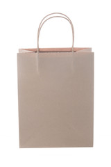 Brown shopping bag on white background