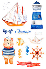 Nautical watercolor set. Ocean creature with cute bear,lighthouse,reef fishe,seahorse,ribbon and bow,sailboat etc.Perfect for invitations,party decorations,printable,craft project,greeting cards,blogs