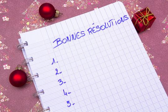 cahier bonnes résolutions