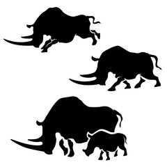 Rhino vector silhouettes.