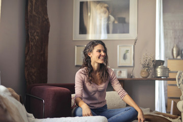 Relaxed woman at home