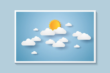 Picture of cloudscape , blue sky with clouds and sun , paper art style