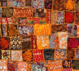 Old Indian patchwork carpet, Rajasthan, India