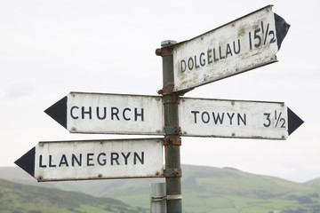 Welsh Direction Signpost; Wales