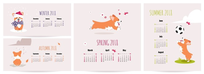 Set of 2018 monthly calendar posters with welsh corgi pembroke in cute cartoon style. Vector illustration