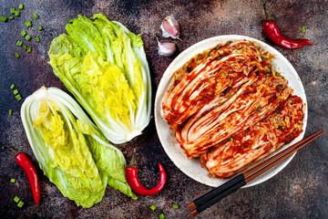Preparing cabbage kimchi. Korean traditional cuisine. Fermented food.