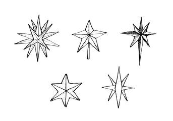 Hand Drawn of Moravian Stars or Herrnhuter Stern