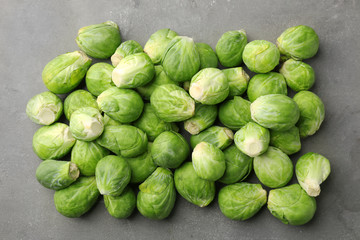 Fresh raw Brussels sprouts on table