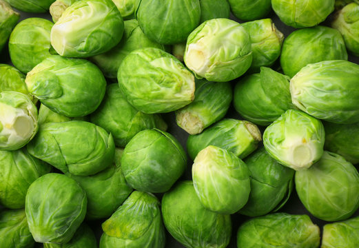 Raw Brussels sprouts as background