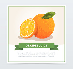 Hand drawn orange with slice and green leaf. Citrus fruit with source of vitamin C. Natural food. Cartoon vector design for juice packaging, promotional poster or card