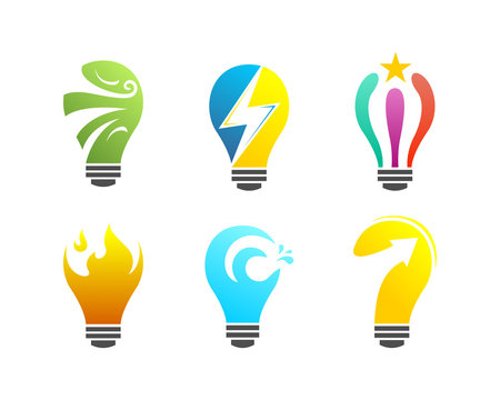 Idea Blub Concept Logo All Element Wind Thunder Shooting Star Fire Flame Water Wave Arrow Hope Light Lightning Sign Symbold Collections