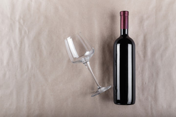 wine bottle with a glass