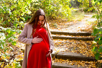 Pregnant woman walking in a park