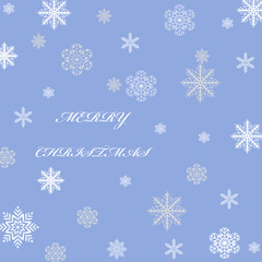 Christmas greeting card snowflakes lettering on a blue background