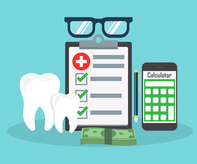 Dental insurance, dental care concept. Dental insurance form, tooth, calculator, pen, money, magnifier flat design graphic elements, flat icons set for web banners, websites, etc. Vector illustration