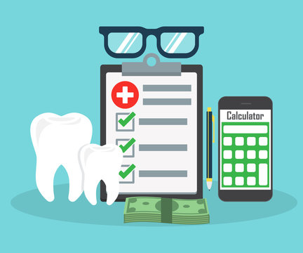 Dental insurance, dental care concept. Dental insurance form, tooth, calculator, pen, money, magnifier flat design graphic elements, flat icons set for web banners, websites, etc. Vector illustration