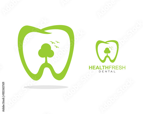 fresh health care green tree teeth logo simple concept template