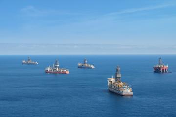 drilling platform,  offshore drill ships, ocean aerial