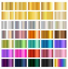 Multicolored metallic gradient backgrounds, metals, silver, gold, bronze, brass, copper, eps10 vector