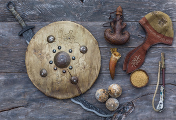 ancient historical Kazakh accessories, weapons of Kazakhs, Mongols and nomads