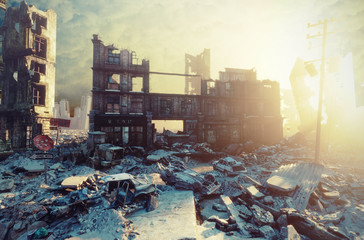 apocalyptic sunset. Wall mural