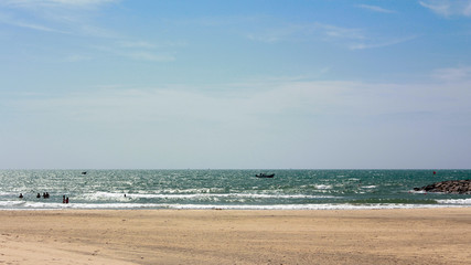 Beautiful ocean wave on sandy beach in Vietnam, Concept vacation background