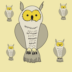 Owl pattern. Hand drawn.