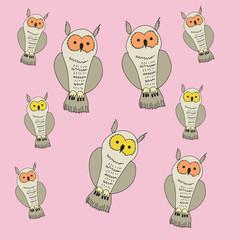 Owl pattern. Hand drawn.