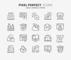 online education thin line icons