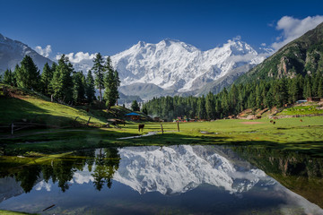 View of mighty Nanga Parbat Mountain (8,126 meters) Pakistan, also known as the Killer Mountain is one among the 14 eight-thousanders.