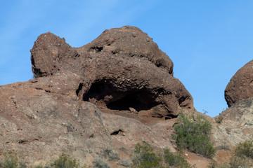 A closeup of the sandstone butte in Arizona
