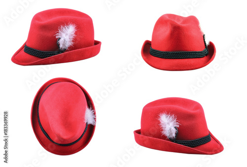 e005cf77cd8 Red Tyrolean hat isolated on white background