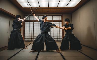 Samurai in a dojo