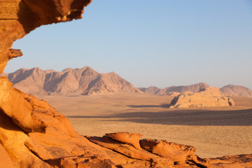 A rock formation during sunset in Wadi Rum, Jordan