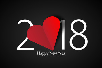 happy new year 2018 with heart