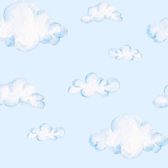 Watercolor baby shower pattern. Blue clouds. For design, print or background