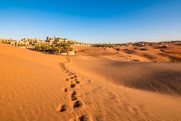 Photo sur Plexiglas Secheresse Footprints on desert sand in Abu Dhabi.