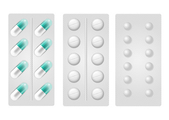 Set of realistic pills in blister pack. Collection of tablet strips isolated on the white background. Pills in different forms and shapes. Medicine and drugs vector illustration.