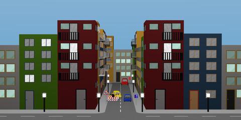 Stadtlandschaft mit bunten Häusern, Straßenlampen, Autos, Baustelle und Straßenschildern.