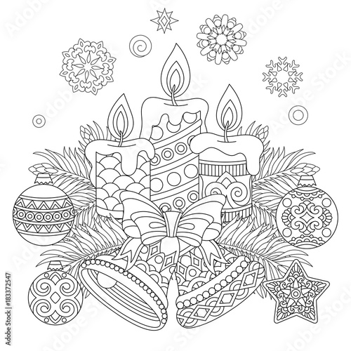 christmas coloring page holiday decorations hanging balls candles jingle bells vintage